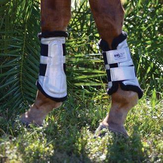 Dressage Sport Boot (DSB Horses, X-Large, Patent Silver/Black Fleece, Pair