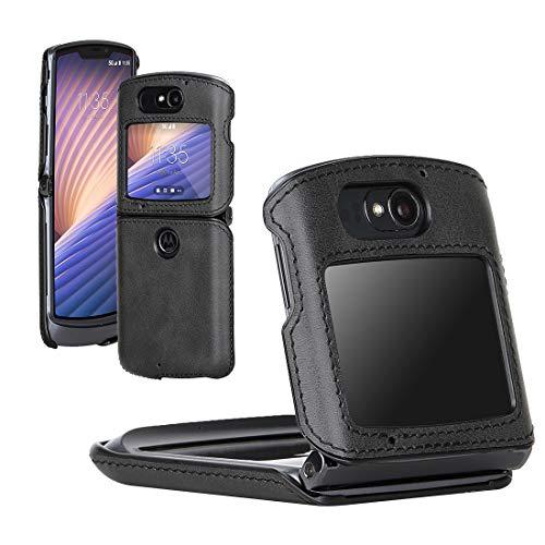 DDJ Schutzhülle für Motorola Razr 5G, flexibles PC-Leder, multifunktional, Schutzhülle für Moto Razr 5G, Schwarz