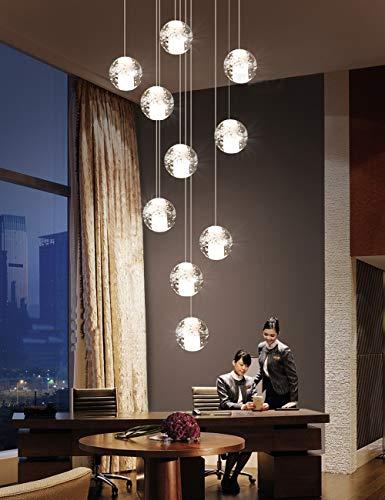 10 palle lampadario a doppia scala LED, multi lampadari di vetro moderno lampadario a sospensione, creativo ristorante lampadario lampade a sospensione stile nordico 40x120cm ( colore : Luce calda )