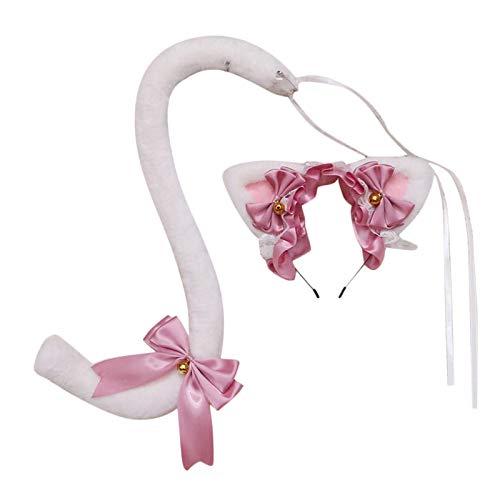 SunniMix Diadema de Orejas de Gato de Piel Larga y Conjunto de Disfraces de Cosplay de Kitty de Fiesta de Halloween - Blanco Rosa