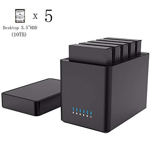 EJOYDUTY 5-voudige magnetische 3,5-inch harde schijf, type C USB3.1Gen1 tot SATA3.0 3,5-inch harde schijf, ondersteuning UASP, 12 V Power, MAX 50 TB