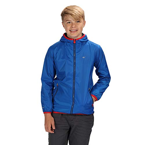 Regatta Kinder Lever II Waterproof and Breathable Mesh Lined Hooded Pack Away Jacke, Oxford Blue/Pepper, 5-6