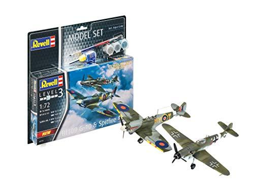 Revell 63710 Model Combat Set Bf109G-10 & originalgetreuer Modellbausatz für Einsteiger, mit Basis-Zubehör, unlackiert