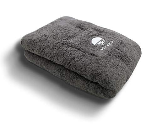 saewelo XXL Saunatuch mit Kapuze und Tasche | 100% Bio-Baumwolle & Oeko-Tex 205 x 80 cm | Farbe Grau | Frottierbadetuch | Badehandtuch | Duschtuch | Saunakilt | Handtuch