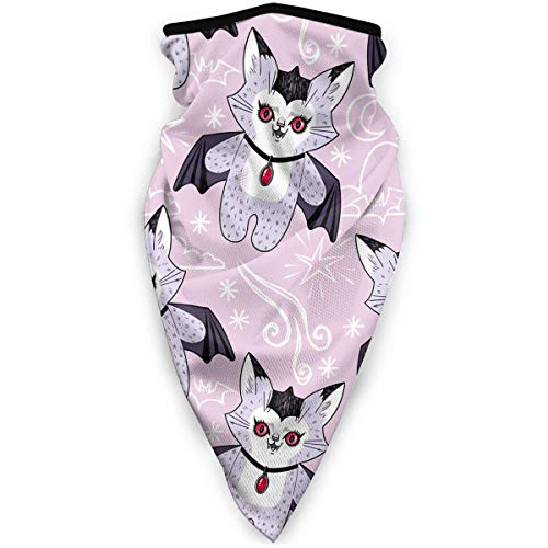 July Cat Vampire Bat Pink schattige tanden windbreak sjaal gezichtsmasker wasbaar stofmasker bivakmuts bandana