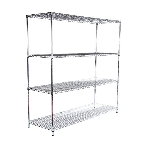 Racking Solutions Heavy Duty Chrome Wire *1838mm H x 1822mm W x 609mm D* 4 Tier Shelving unit – Commercial Quality…