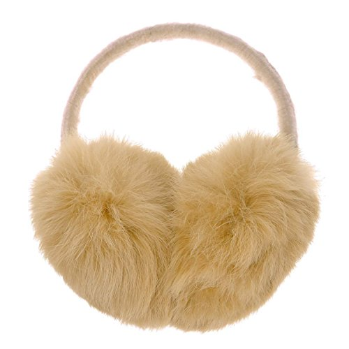ZLYC Womens Girls Genuine Rabbit Fur EarMuffs Adjustable Ear Warmers, Camel