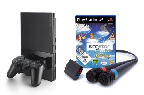 PlayStation 2 - PS2 Konsole, black inkl. SingStar Best of Disney + Mikrofone