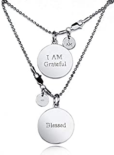 I AM DESIGNERS - I AM Grateful / Blessed – Engraved, High Qualitiy .925 Sterling Silver Exclusive Pendant, 20 in bead chai...