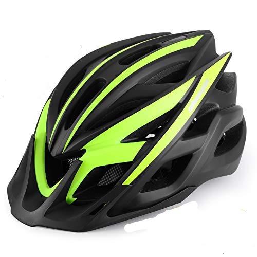 KINGLEAD Casque de vélo avec lumière Rechargeable, certifié CE Unisexe Protection Casque de vélo pour vélo équitation, extérieur Sports Sécurité Superlight Réglable, Mixte, TQ4, Noir/Vert