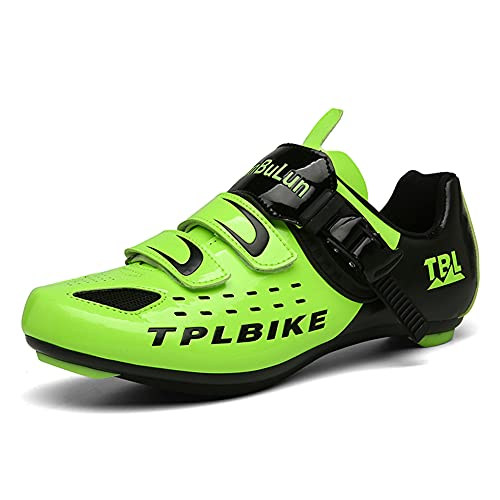 Mens Road Bike Cycling Shoes Peloton Bike Shoes Compatible with SPD and Delta Cleats Riding Shoe Indoor Outdoor Green 260