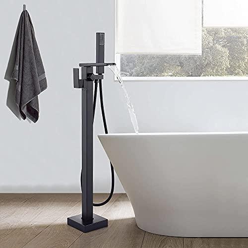 TVTIUO Rubinetto Vasca da Bagno Freestanding ,Cascata per vasca da bagno girevole a 360° ,con doccetta manuale,Nero