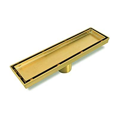 Neodrain Golden12-Inch Linear Shower Drain- With 2-in-1 Flat & Tile insert Cover, Brushed 304 Stainless Steel Rectangle Shower Floor Drain,Floor Shower Drain