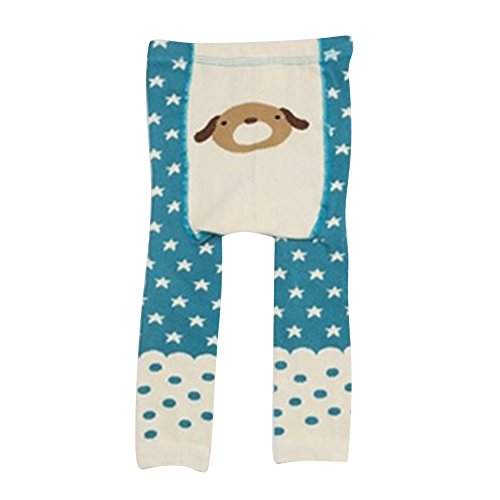 Juleya Collants bébé Collants animaux en coton Neuvième pantalons Leggings pour tout-petits garçon fille Blue Dog S/0-2 années