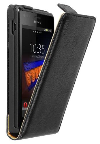 mumbi Echt Leder Flip Case kompatibel mit Sony Xperia M Hülle Leder Tasche Case Wallet, schwarz