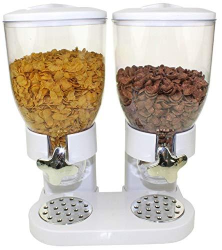 Müslispender Cerealienspender Cerealien Cornflakes Müsli Spender Dispenser Behälter, Version:Weiß - Doppelspender rund