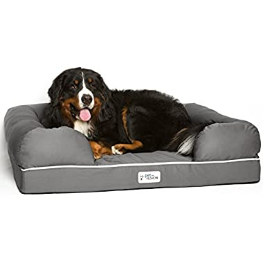 PetFusion Extra Large Dog Bed w/Solid 4  Memory Foam, Waterproof Liner, YKK Premium Zippers. [Ultimate Lounge 44x34x10 - Sized for XL Dogs