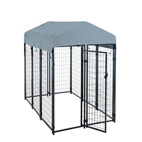 ESTEXO hondenzwinger hondenkooi metaal massief omheining 185x117x185 cm elementen hond met dak