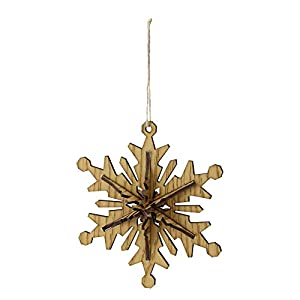 Brown Hanging Christmas Ornament With 6 Point Fully dimensional ornament; country rustic look Designed with a jute rope for hanging Recommended for indoor decorative use only 5.25 inches high by 5.25 inches wide by 1.75 inch deep