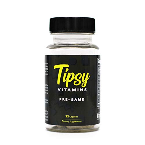 Tipsy Vitamins Pre-Game, Hangover Pills for Hangover Cure (32 Count), Alcohol Recovery, Morning After, with Milk Thistle, 1-2 Day Shipping