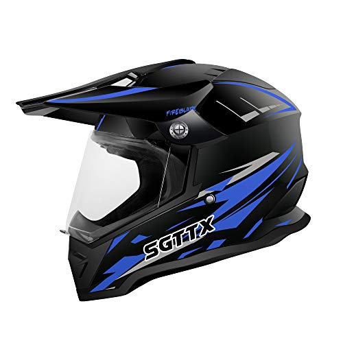 SGTTX Motocross Helme Motorradhelme Motorrad Rennhelme Downhill Integralhelme MX Helme Cross Enduro Quad Mountain Helme ECE für Frauen Männer Erwachsene - Blau S (55-56CM)
