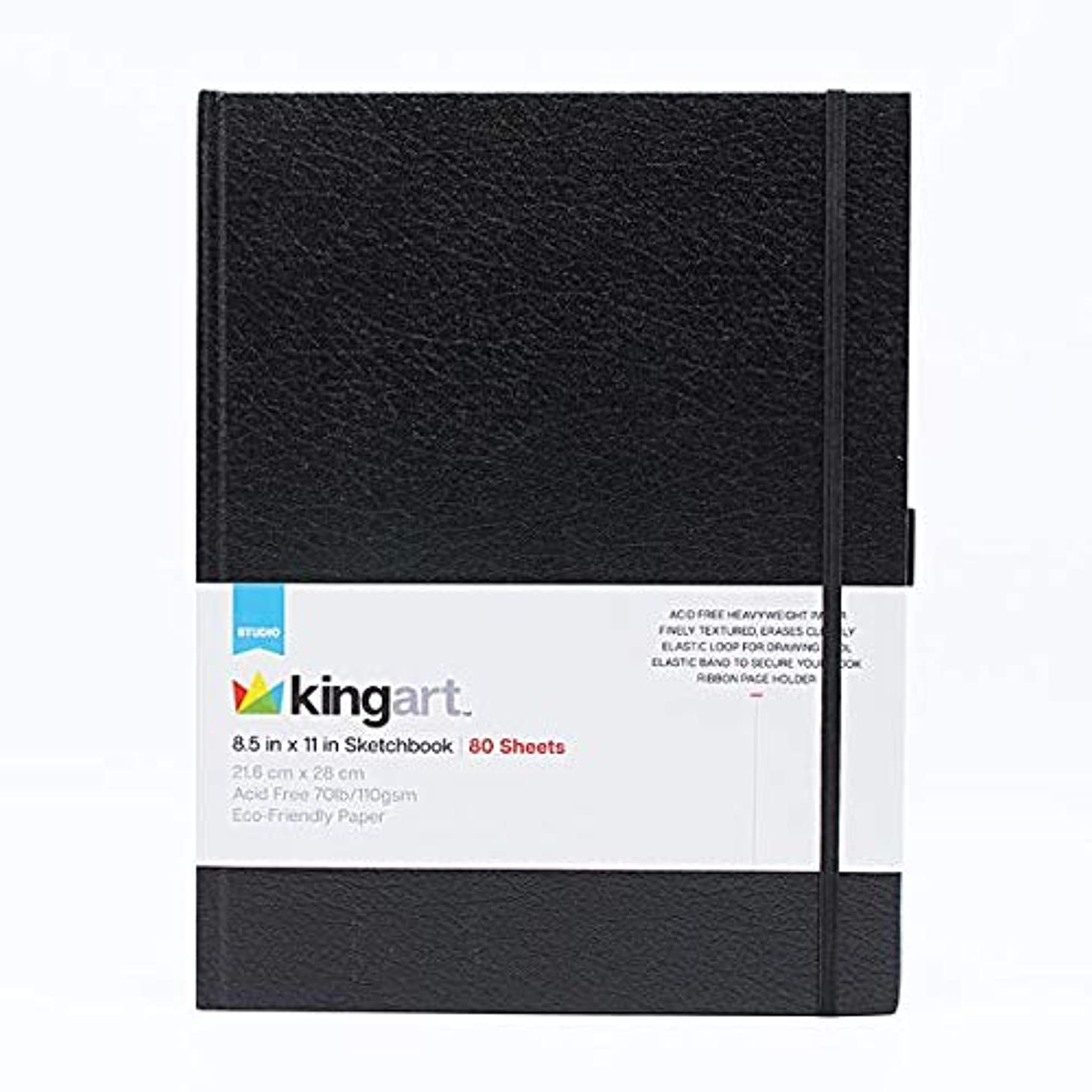 KINGART 625 Hardcover Sketchbook (Black), 70 Lbs. (110G), 8.5