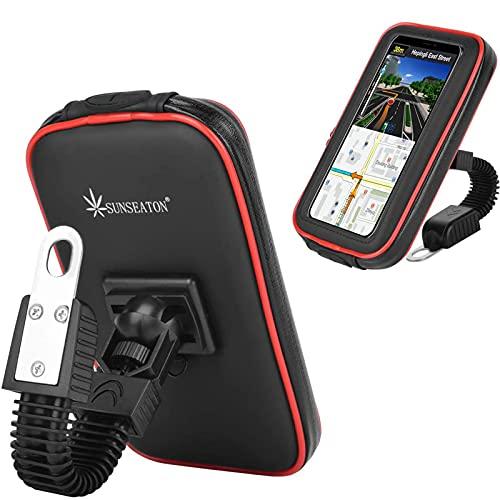 SUNSEATON Custodia Impermeabile Supporto perTelefono per Moto, Supporto Smartphone per Moto, Ruotata a 360 ° Supporto Universale per Moto per GPS (L, Nero)