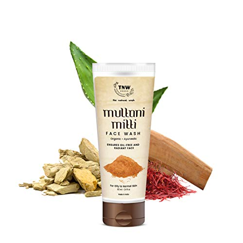 TNW-THE NATURAL WASH Multani Mitti Face Wash for Daily Use   Ayurvedic Wisdom of Sandal Wood, Aloe Vera, Kashmiri Kesar Face Wash for Oily skin to Normal skin For Men and Women (100 ml)