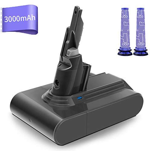 Batterie pour Dyson V7 Séries, morpilot 21.6V 3000mAh Li-ion Batterie de Remplacement pour Dyson V7 Absolute Motorhead Animal Trigger Car+ Boat Fluffy Matress etc. avec 2PCS Filtres Lavables