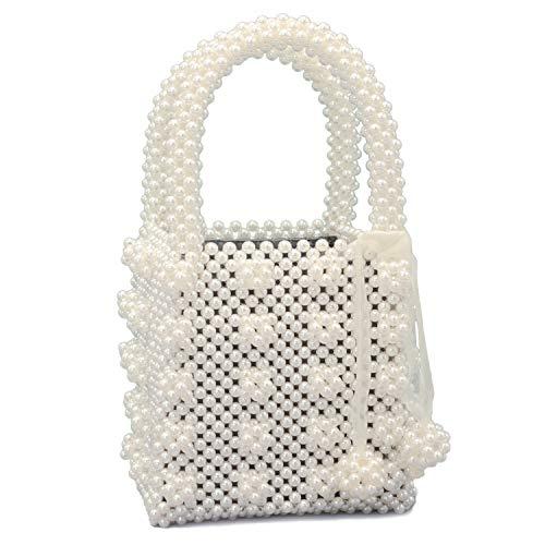 Miuco Womens Beaded Handbags Handmade Weave Crystal Pearl Tote Bags Cream
