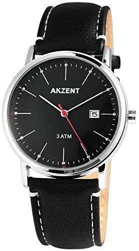 Akzent Reloj de pulsera para hombre, analógico, con fecha, metal y piel sintética, mecanismo de cuarzo