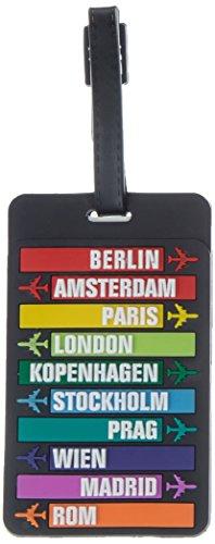 HAUPTSTADTKOFFER - Kofferanhänger inklusive Adressfeld, Kunststoff Kofferschild, Gepäckschild für Koffer Tasche Rucksack, Farbe:: Schwarz