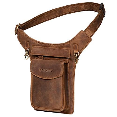 STILORD 'Frankie' Hüfttasche Leder Brusttasche Cross-Body Bag Bauch Tasche Vintage Gürteltasche für Herren Damen Brusttasche Echtleder, Farbe:mittel - braun