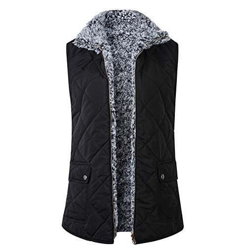 Dames Fleece Gilet Zip Up Lapel Lichtgewicht Casual Jas Draag aan beide zijden Waistcoat (Kleur : Zwart, Maat : S - XL)