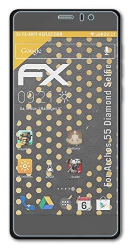 atFolix Panzerfolie kompatibel mit Archos 55 Diamond Selfie Schutzfolie, entspiegelnde & stoßdämpfende FX Folie (3X)