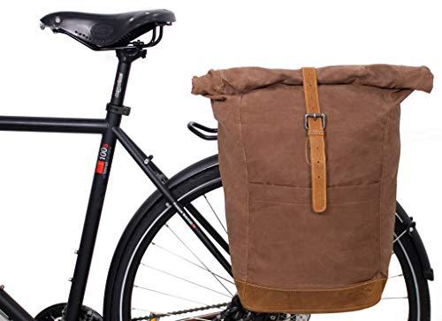 Gusti Gepäckträgertasche Leder - Miquel I. für Gepäckträger Fahrradtasche Hinterradtasche Fahrrad Tasche Canvas Beige Matt Umhängetasche Damen Herren