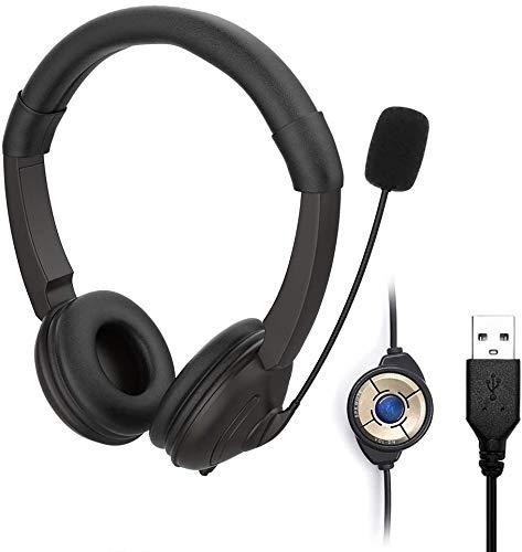 YYG Stereo USB Headset mit Mikrofon für PC, Noise Cancelling Mikrofon und Lautstärkeregler, Stereo-Sound Laptop kopfhörer für Skype/Call Center/Büro/Telefonkonferenzen/Online-Kurse usw