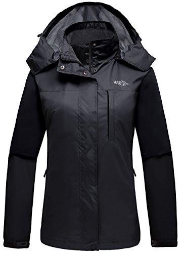 Wantdo Women's Sportswear Windbreaker Front Zip Hooded Outdoor Windproof Rain Jacket for Bowling Black XL