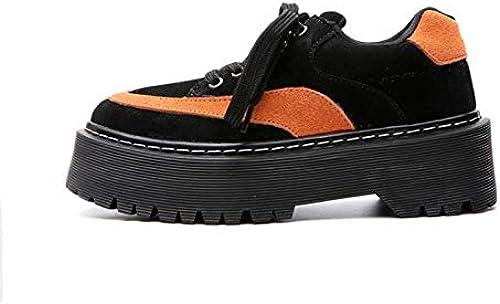 Chaussures Décontracté - Chaussures Martin Plateforme Retro Femme INS Harajuku Punk Couleur Cuir, AugHommester la Hauteur, Absorption des Chocs, Ventilation, Résistance à l'usure,37