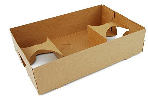"""Southern Champion Tray 0120 Kraft Paperboard 4-Corner Pop-Up Food and Drink Trays, 4-Cup, 10"""" x 6.5"""" x 2.25"""", Brown (Pack of 25)"""