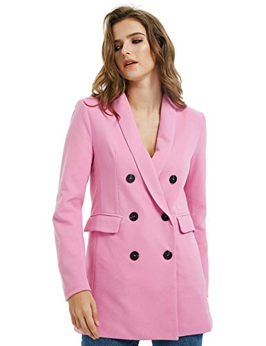 WHBDFY Merk Roze Geel Kleur Pak Blazer Jas Vrouwen Mode Lange Mouw Jas Vrouwen Elegante Double Breasted Jas Suits Vrouwelijke Dames XL JK03