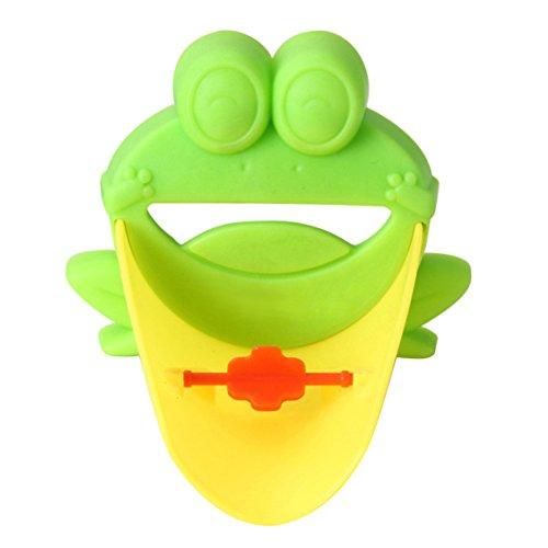 Demiawaking Süß Wasserhahn Verlängerung Extender für Kinder Baby Hände waschen Badezimmer-Cartoon Frosch Design (Grün) - 2