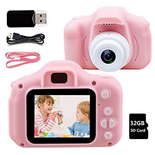 Fotocamera Bambini Macchina Digitale Bambini - 8MP HD 1080P IPS 2 Pollici 32 GB Mini Ricaricabile Fotocamera Digitale per Bambini, Videocamera Regalo di Compleanno per Ragazze Ragazzi da 3-12 Anni