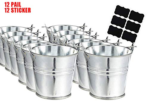 Large Galvanized Metal Buckets with Chalkboard Stickers - Snack Baskets, Party Favors, Party Accessories and Decorations, Succulent Planter -12 Pails with Stickers