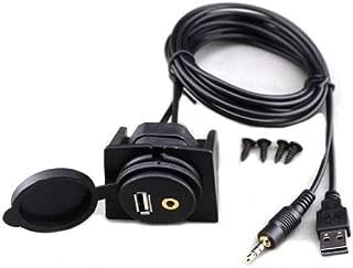 Goliton USB & 3.5mm AUX extension Flush Mount 2 Meter Audio cable, 1/8 AUX Car Bike Boat Motercycle Lead