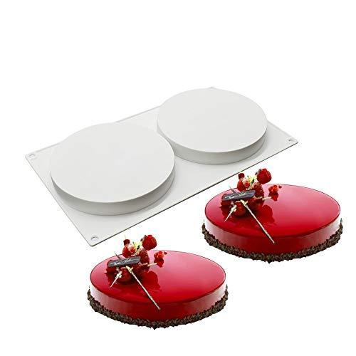 XiaoShenLu 3D kuchenform Mousse Silikon backformen DIY Mold Dessert backform, 2 Löcher Flache Kuchenform
