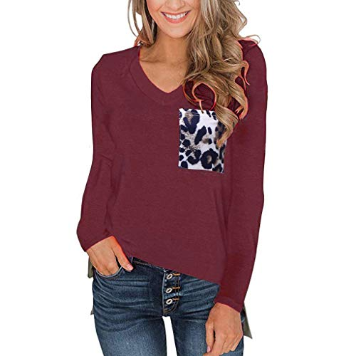ANJUNIE Women's Long Sleeves T Shirt with Leopard Pocket V Neck Casual Tops Basic Tees(Wine,XXL)
