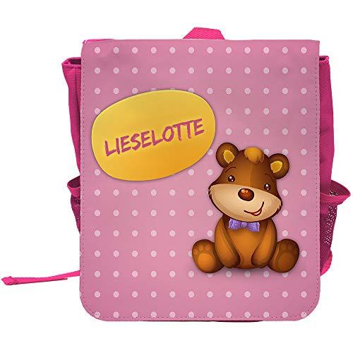 Kinder-Rucksack mit Namen Lieselotte und schönem Bären-Motiv für Mädchen