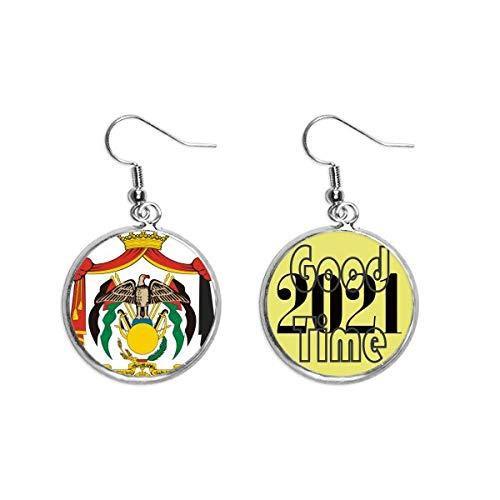 Jordan National Emblem - Pendientes de oreja con diseño de país