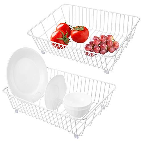 QIWODE Escurridor de Platos, cesto para Platos, Cesta para Frutas, Verduras, ollas, Cuencos, Platos y Utensilios de Cocina (Paquete de 2)